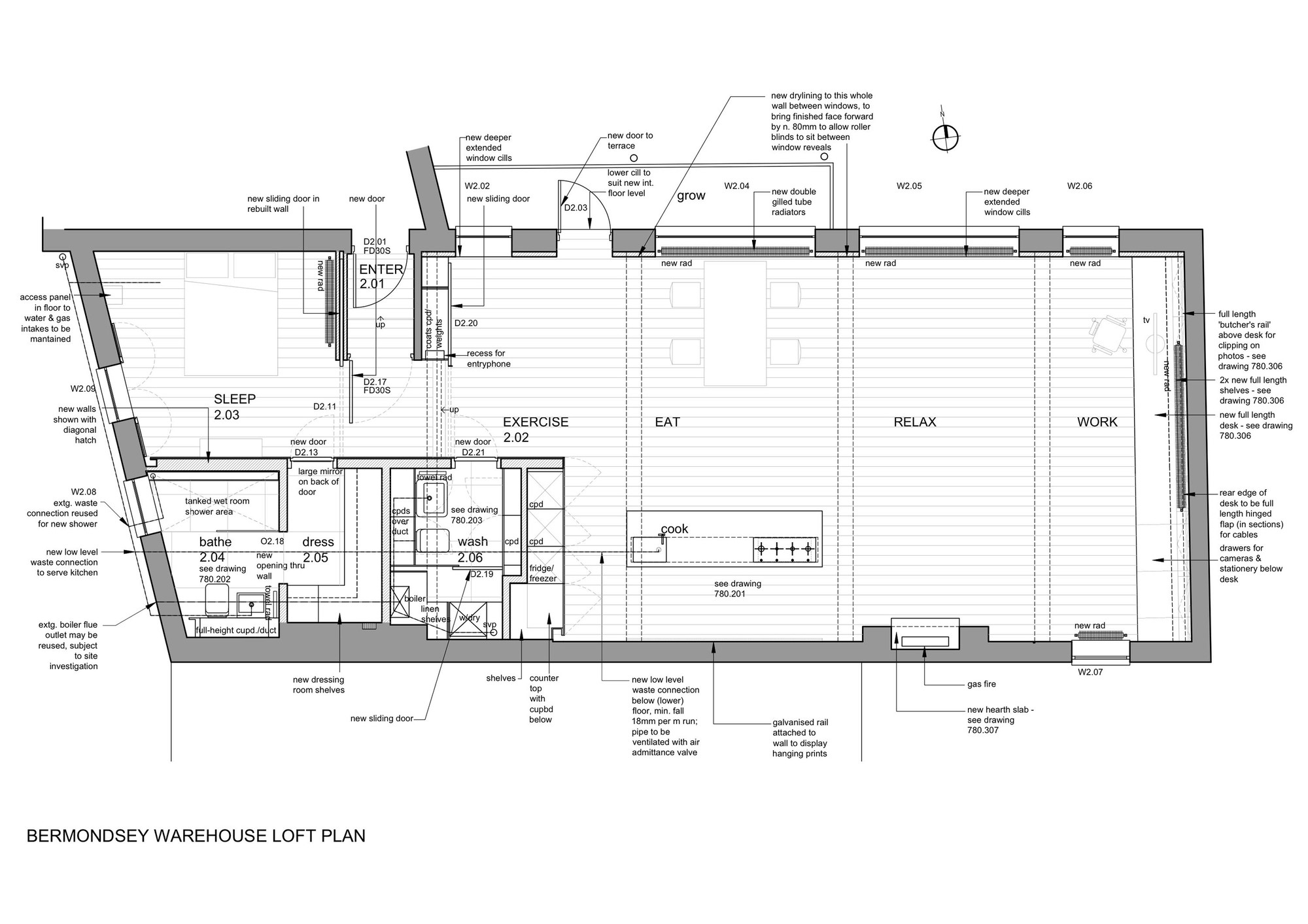 Bermondsey warehouse loft apartment form design for Apartment design plan