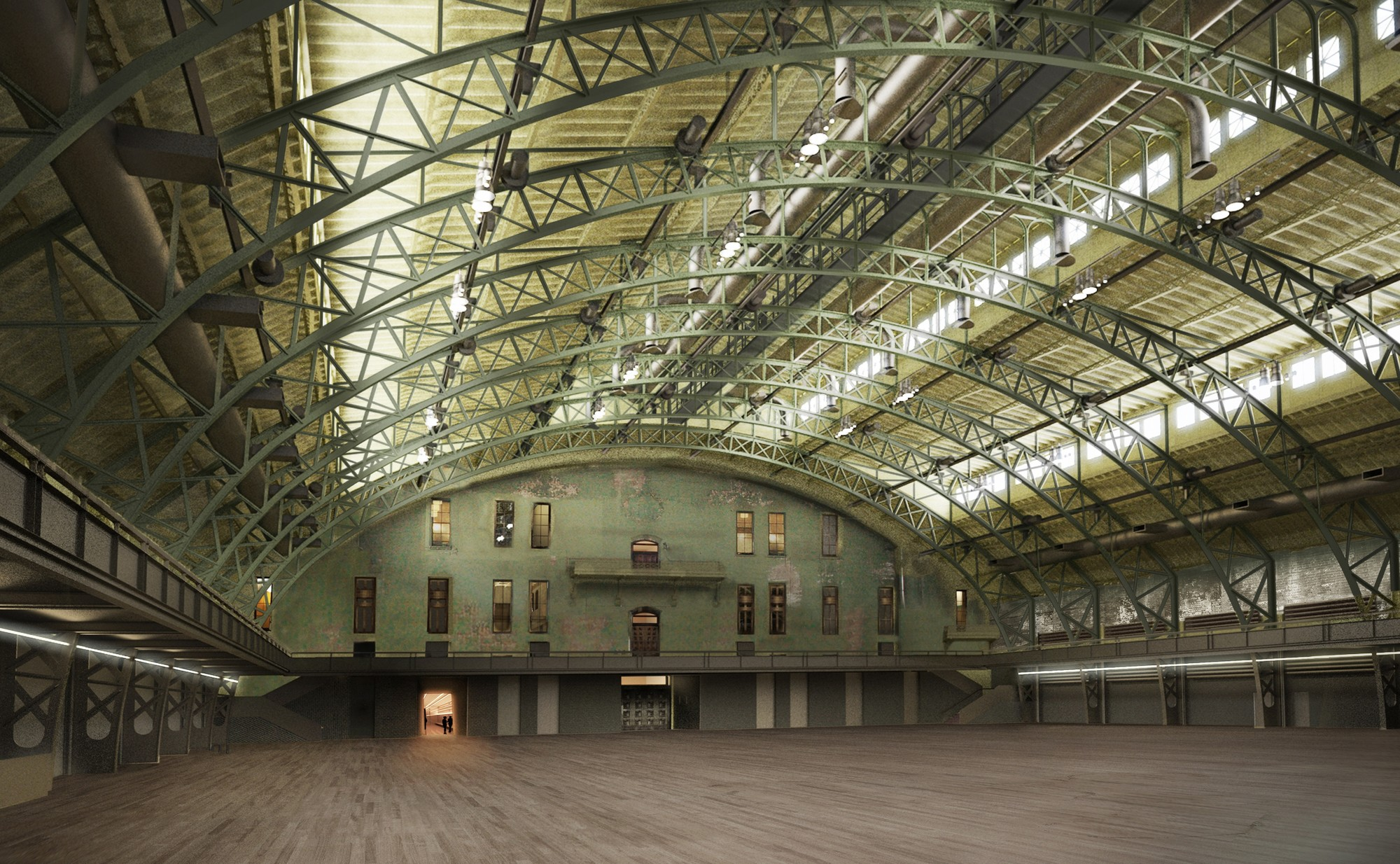 View of the Drill Hall during restoration. Image Courtesy of Herzog & de Meuron