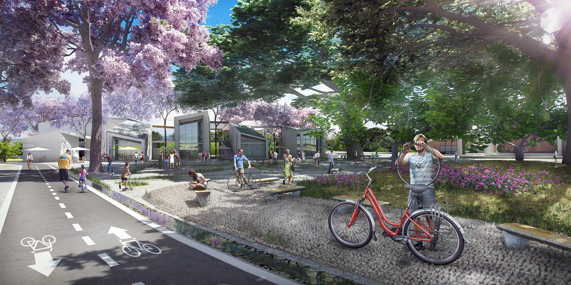 Primer Lugar Concurso Parque de Ciudad-Neiva / Colombia, Alameda El Curibano. Image Courtesy of Obraestudio + Riqueza