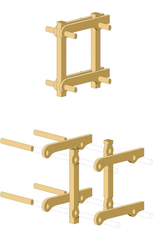 isométrica explotada sistema de marco estructural