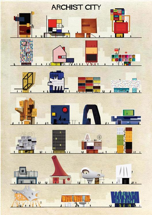 ARCHIST: Ilustraciones Famosas de Arte Reimaginadas como Arquitectura, Courtesy of Federico Babina