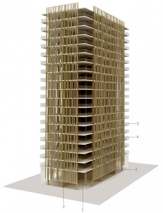"Diagram from the report, ""The Case For Tall Wood Buildings"". Image Courtesy of Michael Green Architecture"