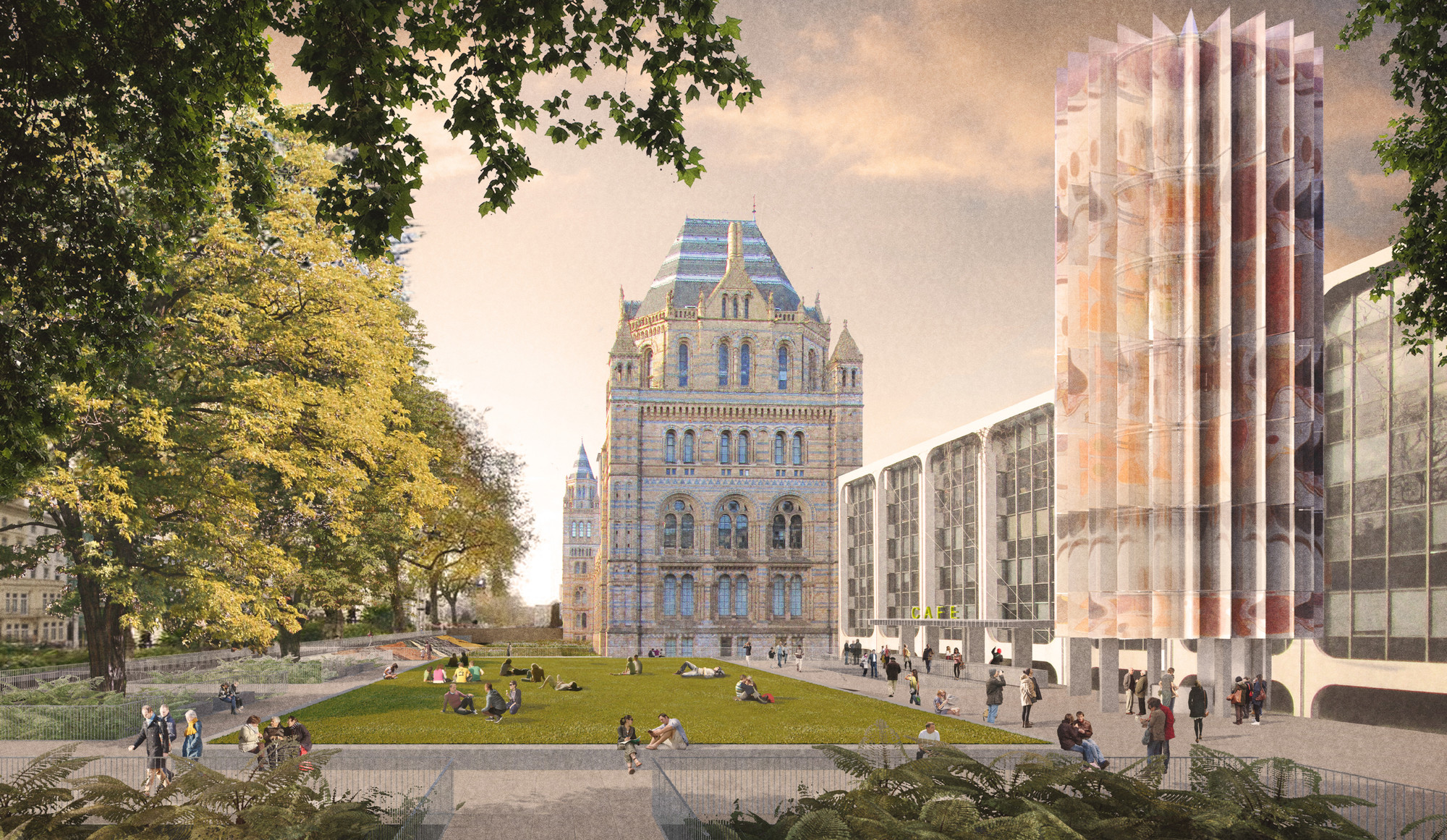 Designs Unveiled for London's Natural History Museum Urban Redevelopment, Team 1. Image Courtesy of Natural History Museum
