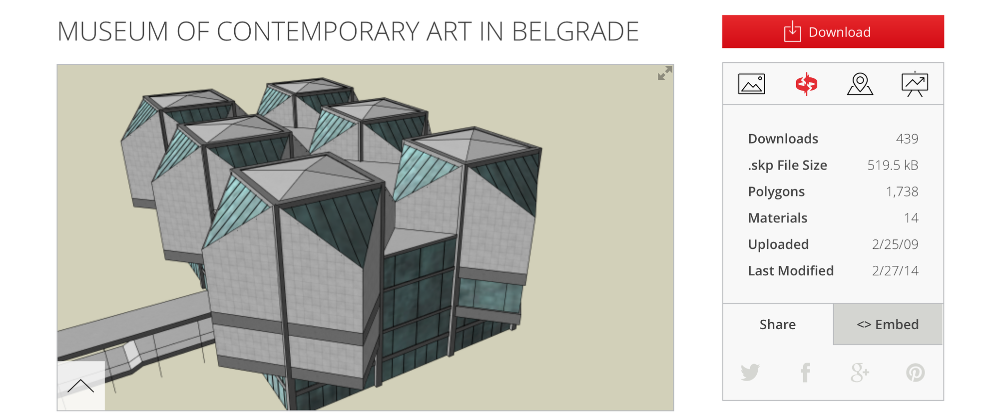Museum of Contemporary Art in Belgrade / Created by Djordje. Image Courtesy of Trimble