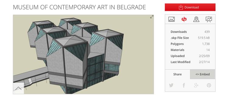 Museu de Arte Contemporânea em Belgrado / Criado por Djordje. Cortesia de Trimble