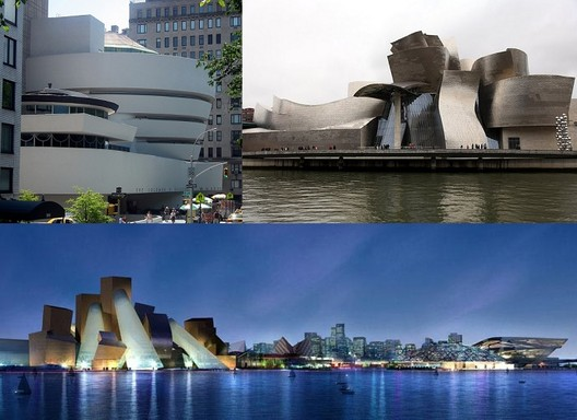 The Guggenheim New York, Bilbao and Abu Dhabi. Images (clockwise from top left) © Flickr CC User Erik Drost, © Flickr CC User RonG8888, and Courtesy of Gehry Partners. Image