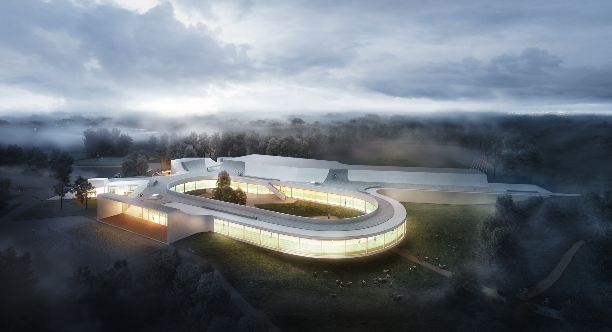 Elkiær+ Ebbeskov and Leth & Gori Win Competition for Multifunctional Sports Centre, © Bloom Images. Image Courtesy of Elkiær+ Ebbeskov / LETH & GORI
