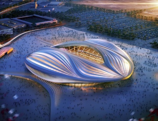 The Indicator: Where the Migrant Workers Are, Zaha Hadid Architects' design for al-Wakrah stadium, the main stadium for the 2022 Qatar World Cup. Image Courtesy of ZHA