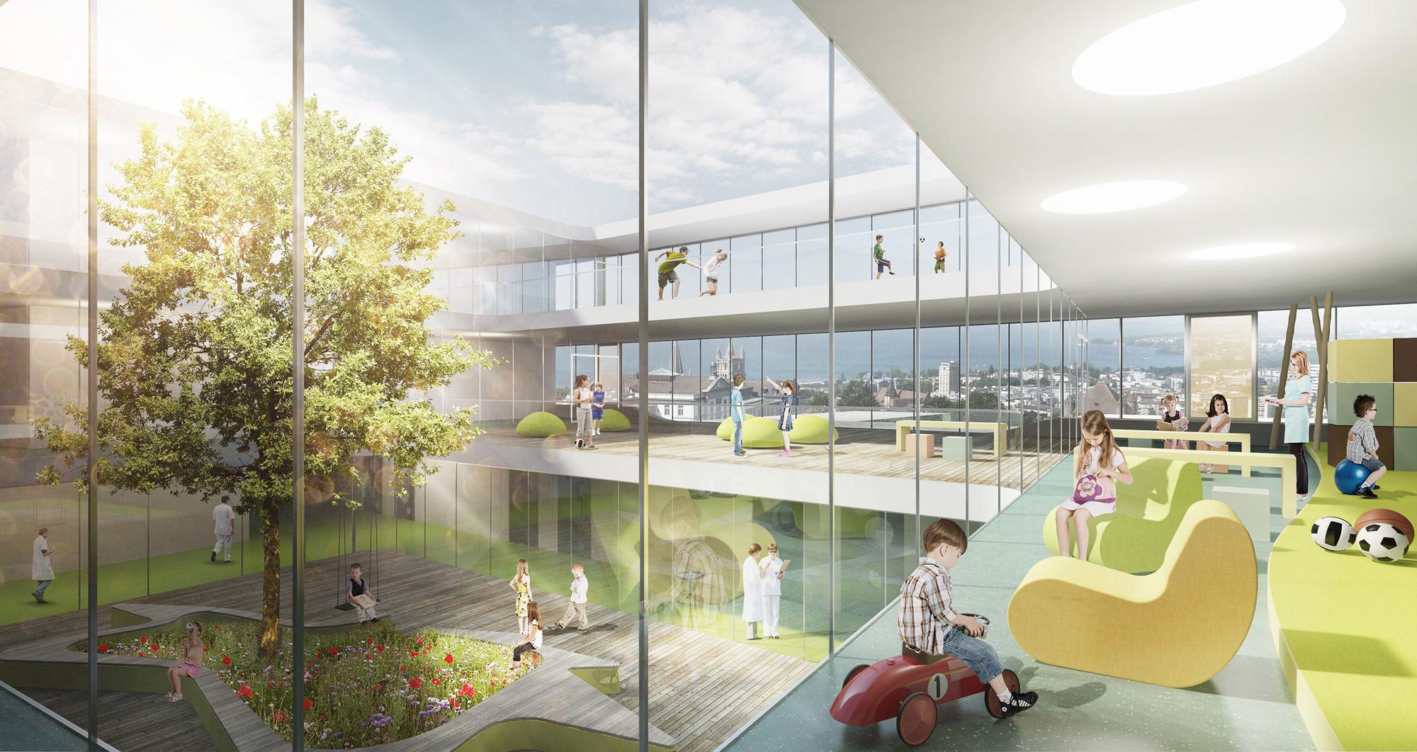 gmp gana el concurso para diseñar un Hospital de Niños en Suiza, © JB Ferrari & Associés SA