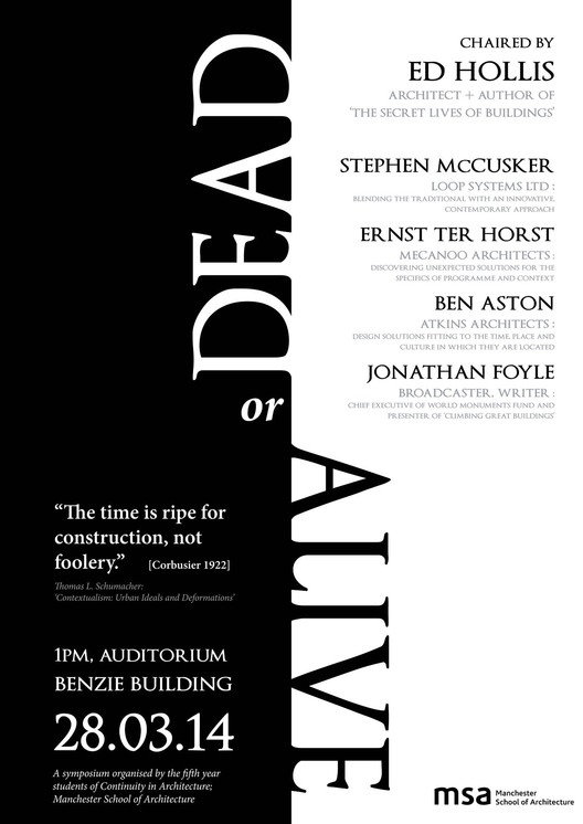 Poster. Image Courtesy of Manchester School of Architecture