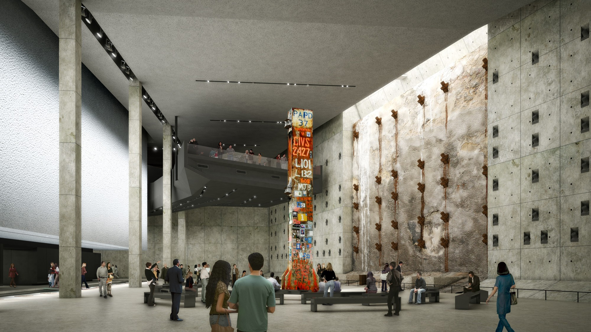 Davis Brody Bond Releases New Details of the 9/11 Memorial Museum, Design Study for Foundation Hall featuring the Last Column. Image © Red Square Design