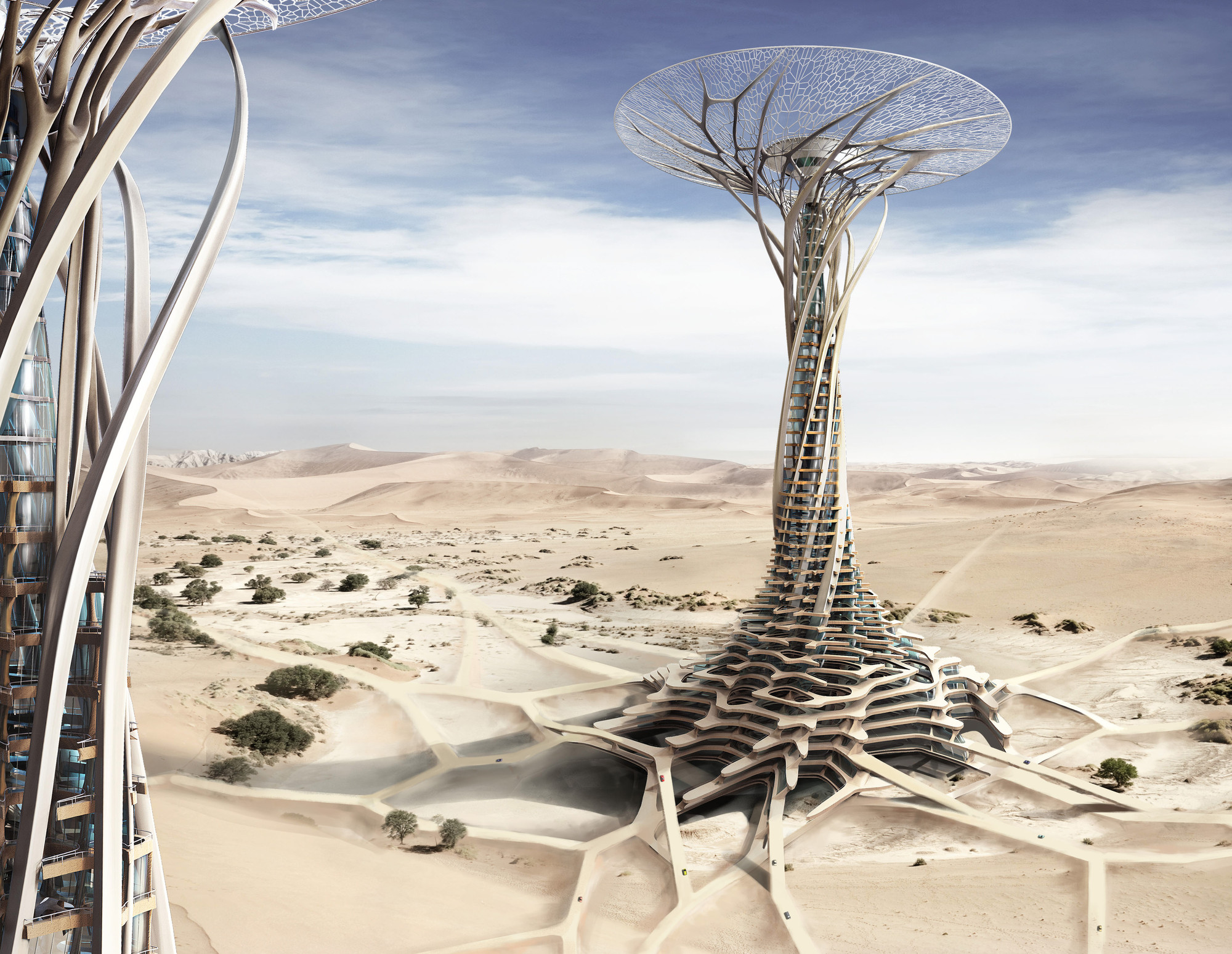 "Honorable Mention: ""Sand Babel: Solar-Powered 3D Printed Tower"" / Qiu Song, Kang Pengfei, Bai Ying, Ren Nuoya, Guo Shen (China). Image Courtesy of eVolo"