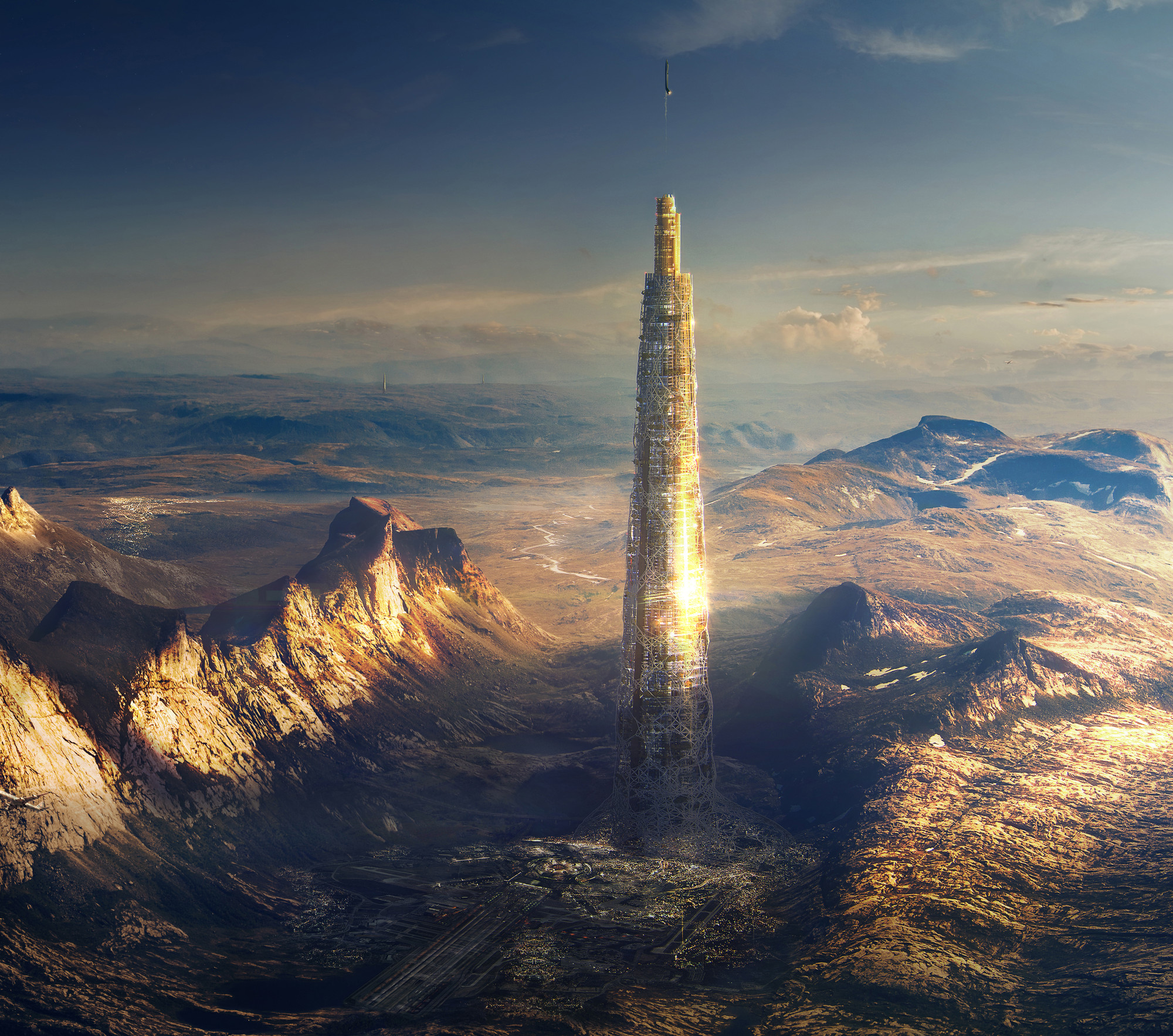 "Honorable Mention: ""Launchspire"" / Henry Smith, Adam Woodward, Paul Attkins (UK). Image Courtesy of eVolo"