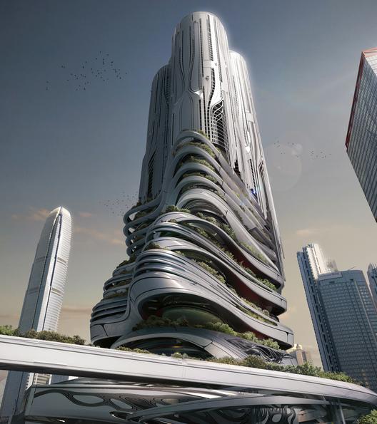 """Mención Honrosa:""""PieXus Tower: Maritime Transportation Hub Skyscraper For Hong Kong"""" / Chris Thackrey, Steven Ma, Bao An Nguyen Phuoc, Christos Koukis, Matus Nedecky, Stefan Turcovsky (Estados Unidos). Imagen Cortesía de eVolo"""