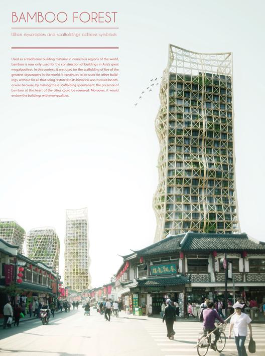 """Mención Honrosa:""""Bamboo Forest: Skyscrapers And Scaffoldings In Symbiosis"""" / Thibaut Deprez (Francia). Imagen Cortesía de eVolo"""