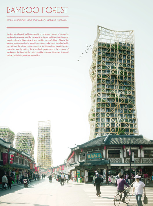 "Honorable Mention: ""Bamboo Forest: Skyscrapers And Scaffoldings In Symbiosis"" / Thibaut Deprez (France). Image Courtesy of eVolo"