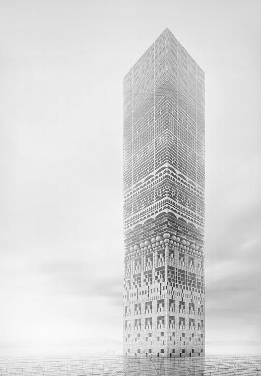 """Mención Honrosa:""""The New Tower Of Babel"""" / Petko Stoevski (Alemania). Imagen Cortesía de eVolo"""