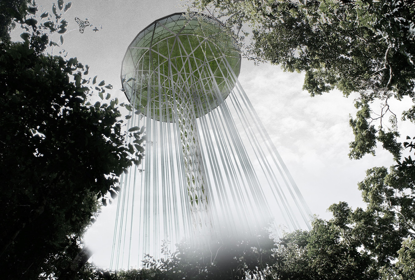 "Honorable Mention: ""Rainforest Guardian Skyscraper"" / Jie Huang, Jin Wei, Qiaowan Tang, Yiwei Yu, Zhe Hao (China). Image Courtesy of eVolo"