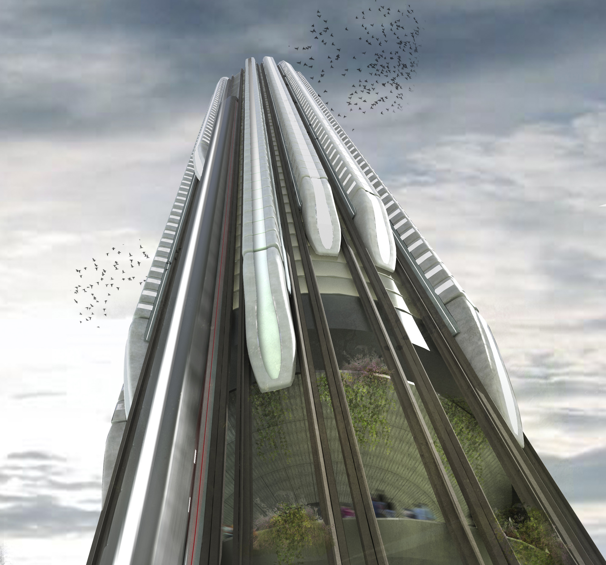 "Honorable Mention: ""Hyper-Speed Vertical Train Hub"" / Christopher Christophi, Lucas Mazarrasa (UK). Image Courtesy of eVolo"