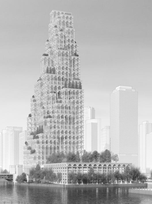 """Mención Honrosa:""""21st Century Neoclassical Skyscraper"""" / John Houser, Park MacDowell (Estados Unidos).  Imagen Cortesía de eVolo"""