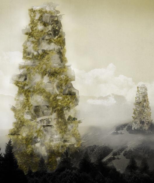 """Mención Honrosa:""""Re-Silience Skyscraper: Biomass Reduction"""" / Diego Espinosa Figueroa, Javiera Valenzuela Gonzalez (Chile). Imagen Cortesía de eVolo"""