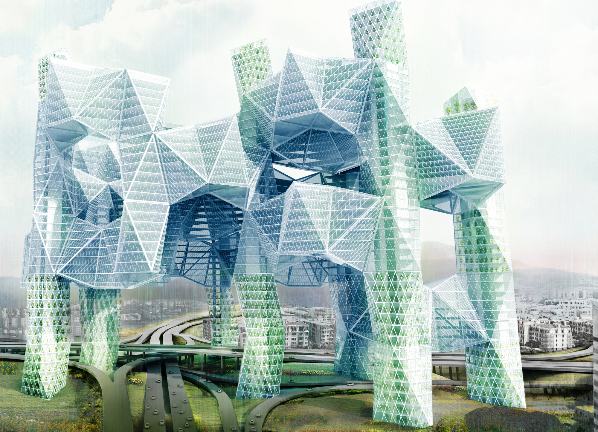"Honorable Mention: ""Skyvillage For Los Angeles"" / Ziwei Song (US). Image Courtesy of eVolo"