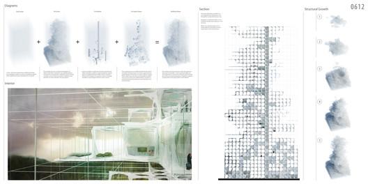 """Third Place: """"Propagate Skyscraper: Carbon Dioxide Structure"""" / YuHao Liu, Rui Wu (Canada). Image Courtesy of eVolo"""
