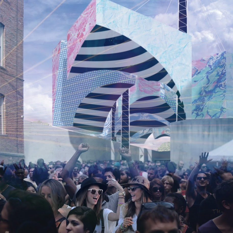 MoMA PS1 YAP 2014 Runner-Up: Underberg / LAMAS, Looking back from the stage to the barrel vault, the party's in full swing. Image © LAMAS