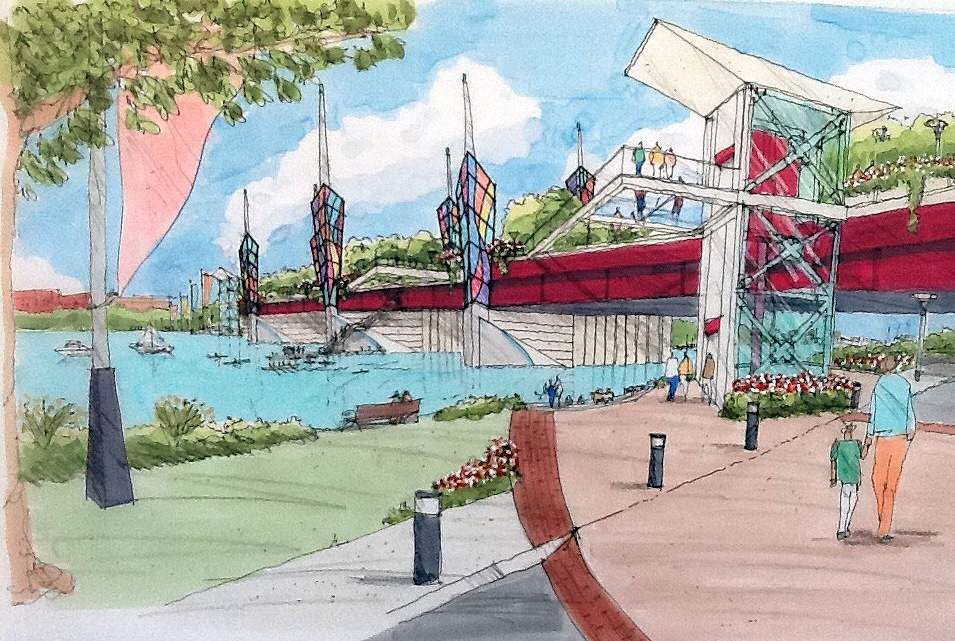 """Competition Seeks Architects to Design Massive """"Bridge Park"""" in D.C., Artist Rendering. Image Courtesy of THEARC"""