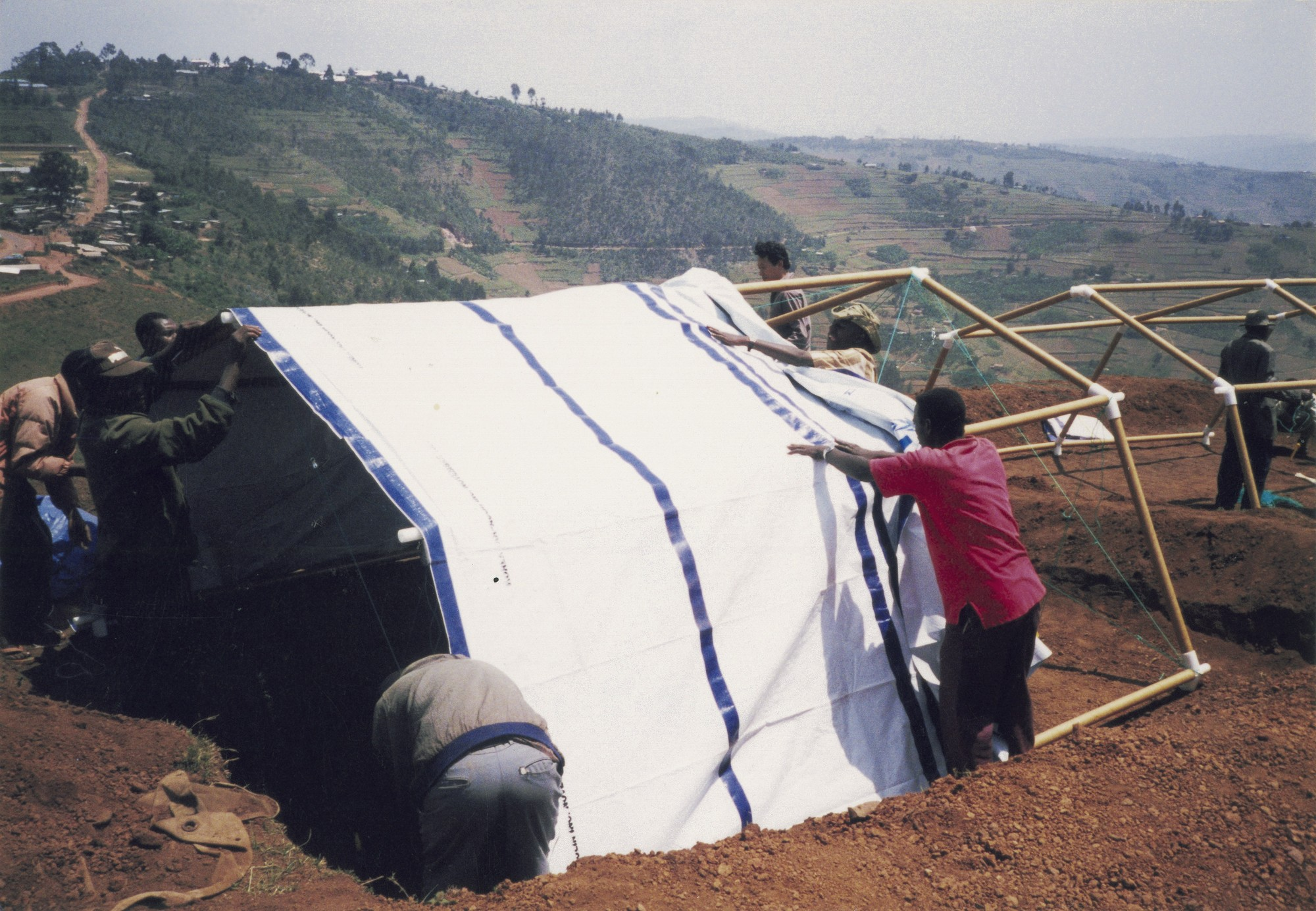 Paper Emergency Shelter for UNHCR. Image Courtesy of Shigeru Ban Architects