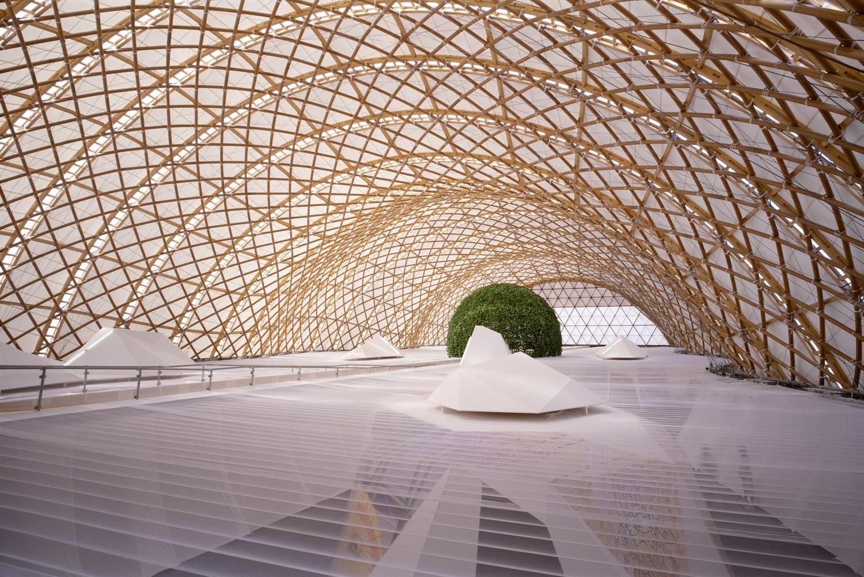 Pabellon Japonés para el Expo Hanover 2000. Imagen ©Hiroyuki Hirai