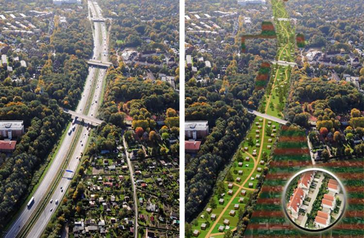 Hamburgo planeja construir um parque sobre uma de suas rodovias urbanas, Cortesia de  inhabitat.com