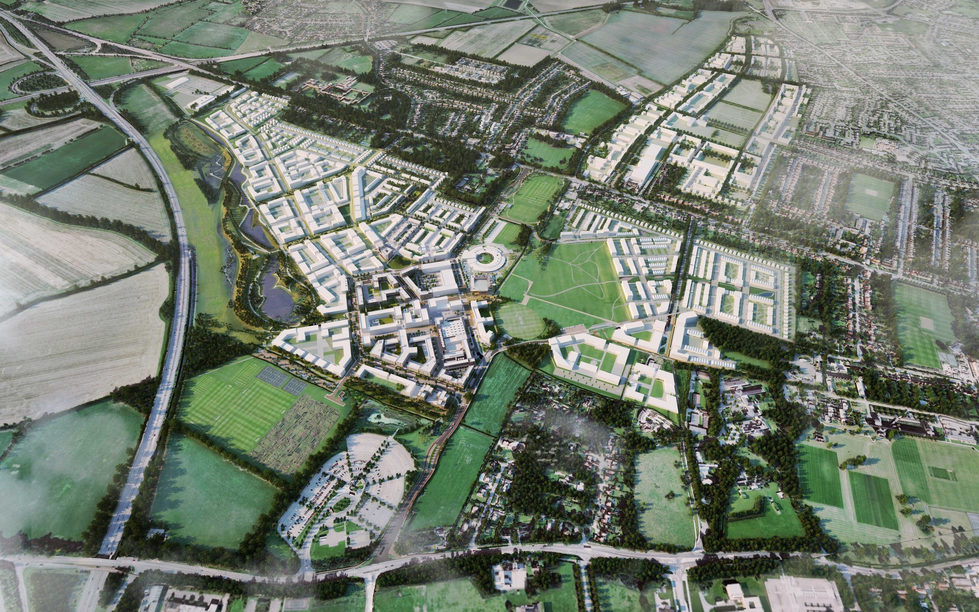 North West Cambridge Extension Proposals Enter Planning Phase, Masterplan. Image Courtesy of North West Cambridge