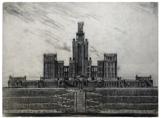 Boris Iofan, Design for Moscow State University on Leninskie Gory in Moscow. Main façade, 1947, Charcoal on tracing paper, 680 x 895 mm. Image Courtesy of the Tchoban Foundation