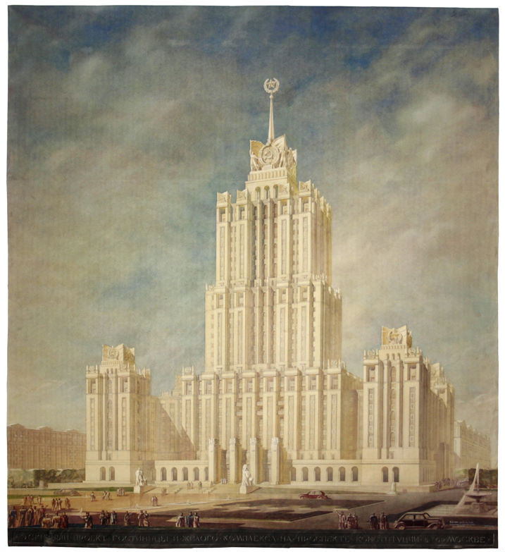 Arkady Mordvinov, Vyacheslav Oltarzhevsky, Design for the Hotel Ukraina in Moscow. Perspective, 1948 - 1954. Brush and watercolour over preparatory pencil sketches, white highlights, 1424 x 1267 mm. Image Courtesy of the Tchoban Foundation
