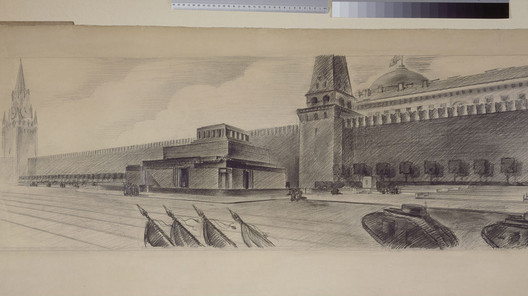 Alexey Shchusev, Design for the granite Lenin mausoleum in Moscow. Perspective against the backdrop of the Kremlin,1930, pencil on paper, 593 x 1510 mm. Image Courtesy of the Tchoban Foundation