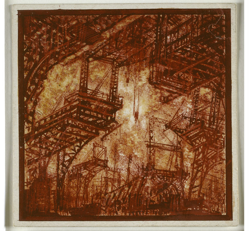 Yakov Chernikhov, Architectural fantasy. View of the enormous portal cranes with semi-circular corbels, 1932-1936, Drafting pen, gouache and lacquer, 105 x 105 mm. Image Courtesy of the Tchoban Foundation
