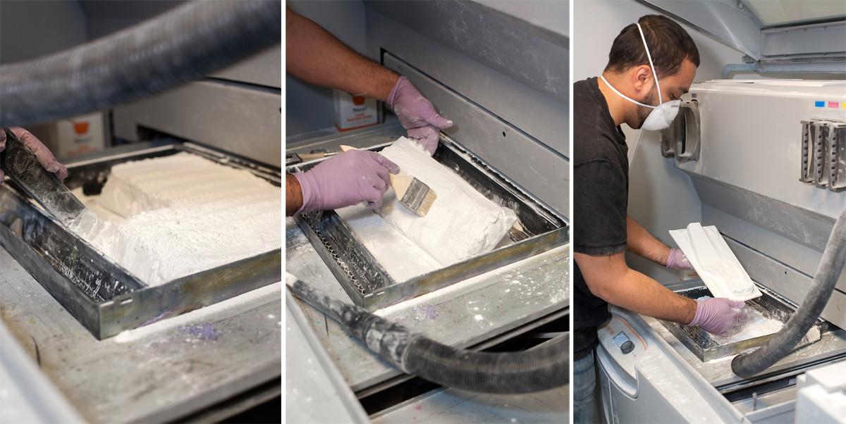 The process of lifting a finished print out of NRI's ZPrinter 650. Image Courtesy of John Chu/Kohn Pedersen Fox Associates