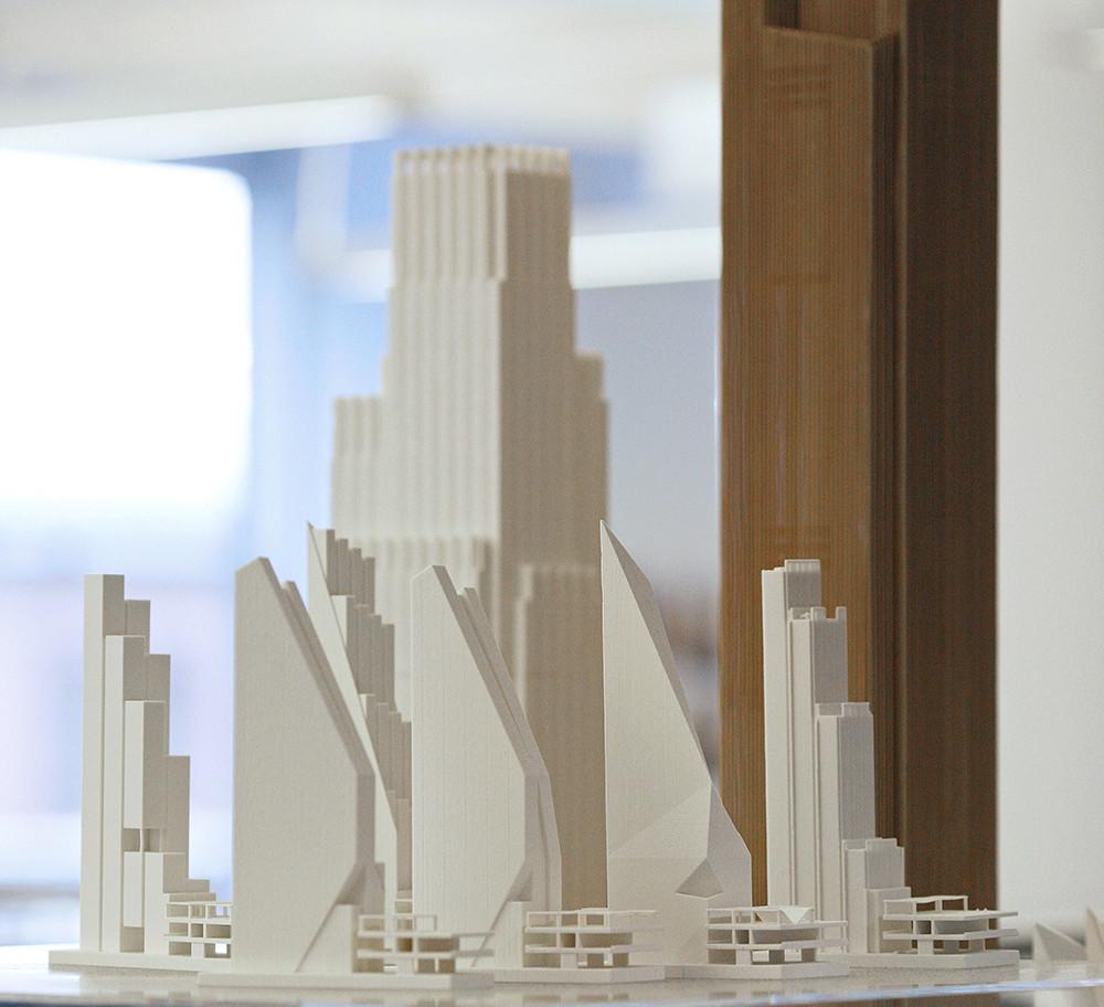 The Burgeoning Craft of 3D Printing, Various 3-D printed formal explorations at KPF. Image Courtesy of John Chu/Kohn Pedersen Fox Associates