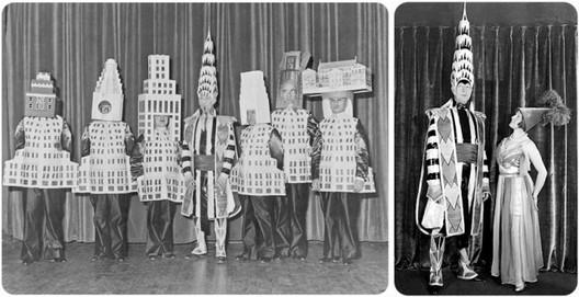 Arquitectos disfrazados en el Beaux Arts Ball de 1931. Image Cortesia de Theatreoffashion