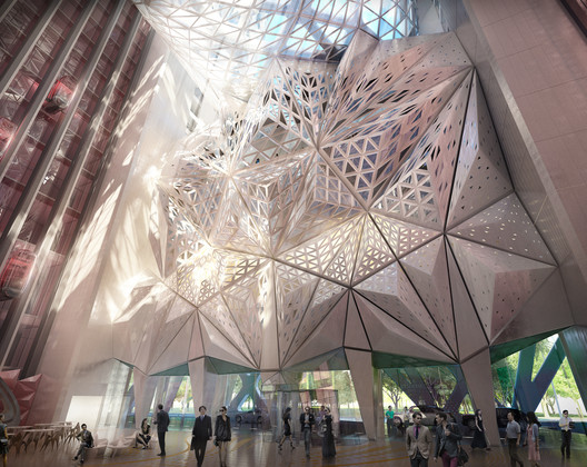 Lobby Atrium . Image © Zaha Hadid Architects; 2014 Melco Crown Entertainment Limited