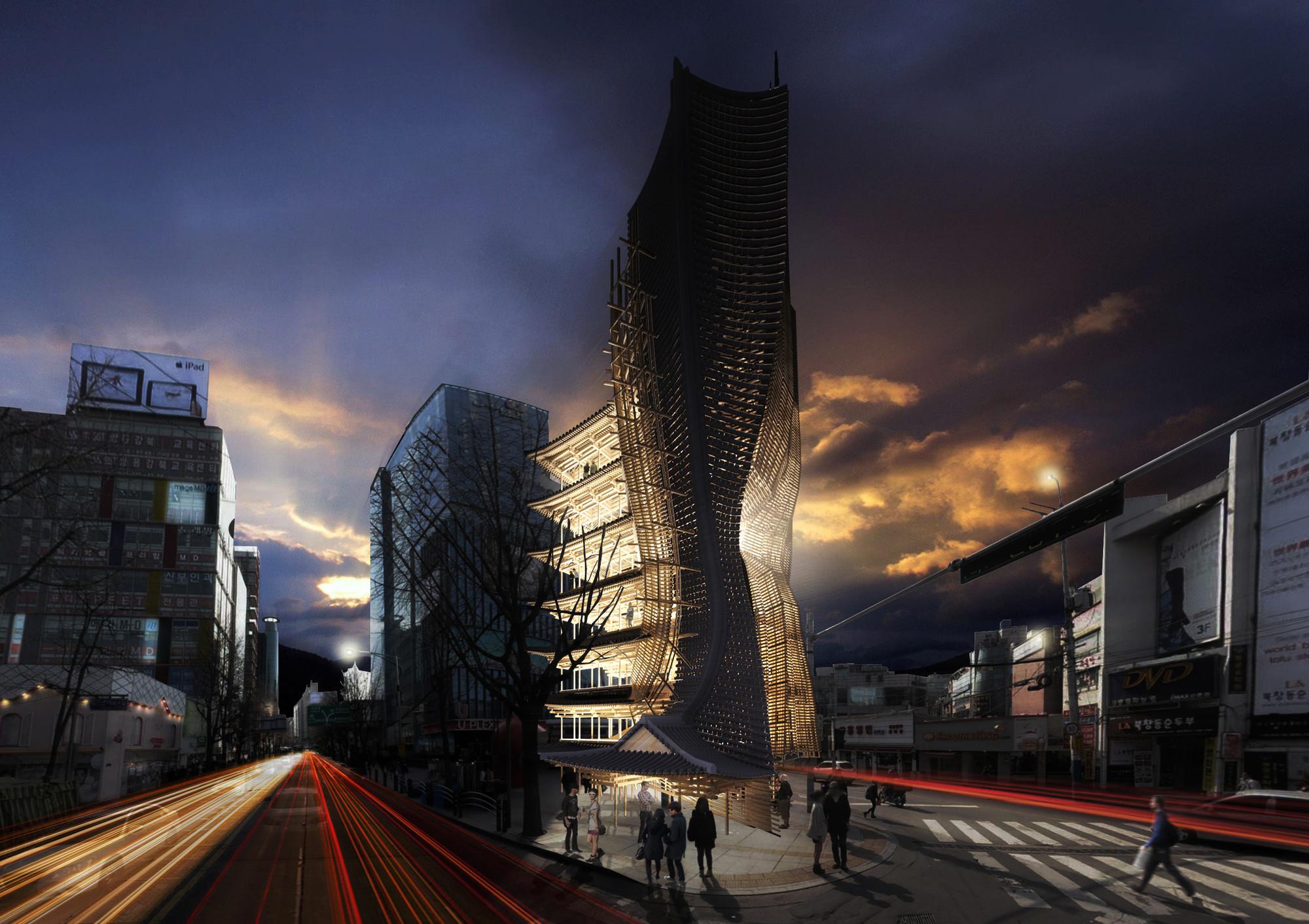 eVolo Skyscraper Winner 2014 Transforms Korean 'Hanok' Into Impressive High-Rise, Visualisation. Image © Yong Ju Lee