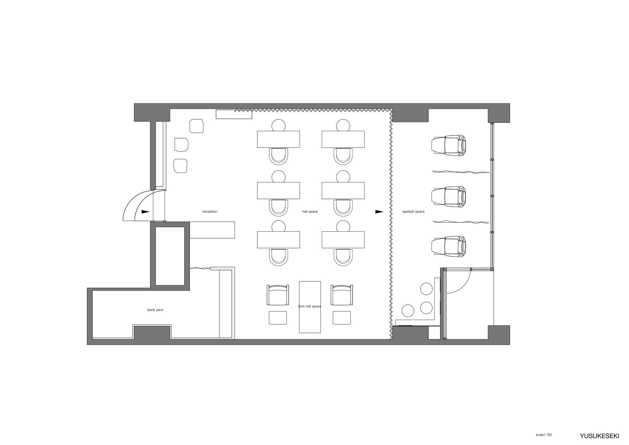 Nail Salon Floor Plan: Kolmio+LIM / Yusuke Seki