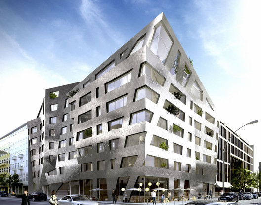 Rendering of the CHAU 43 residential project in Berlin, whose facade will be clad in Libeskind's titanium ceramic porcelain tile.. Image Courtesy of Studio Daniel Libeskind