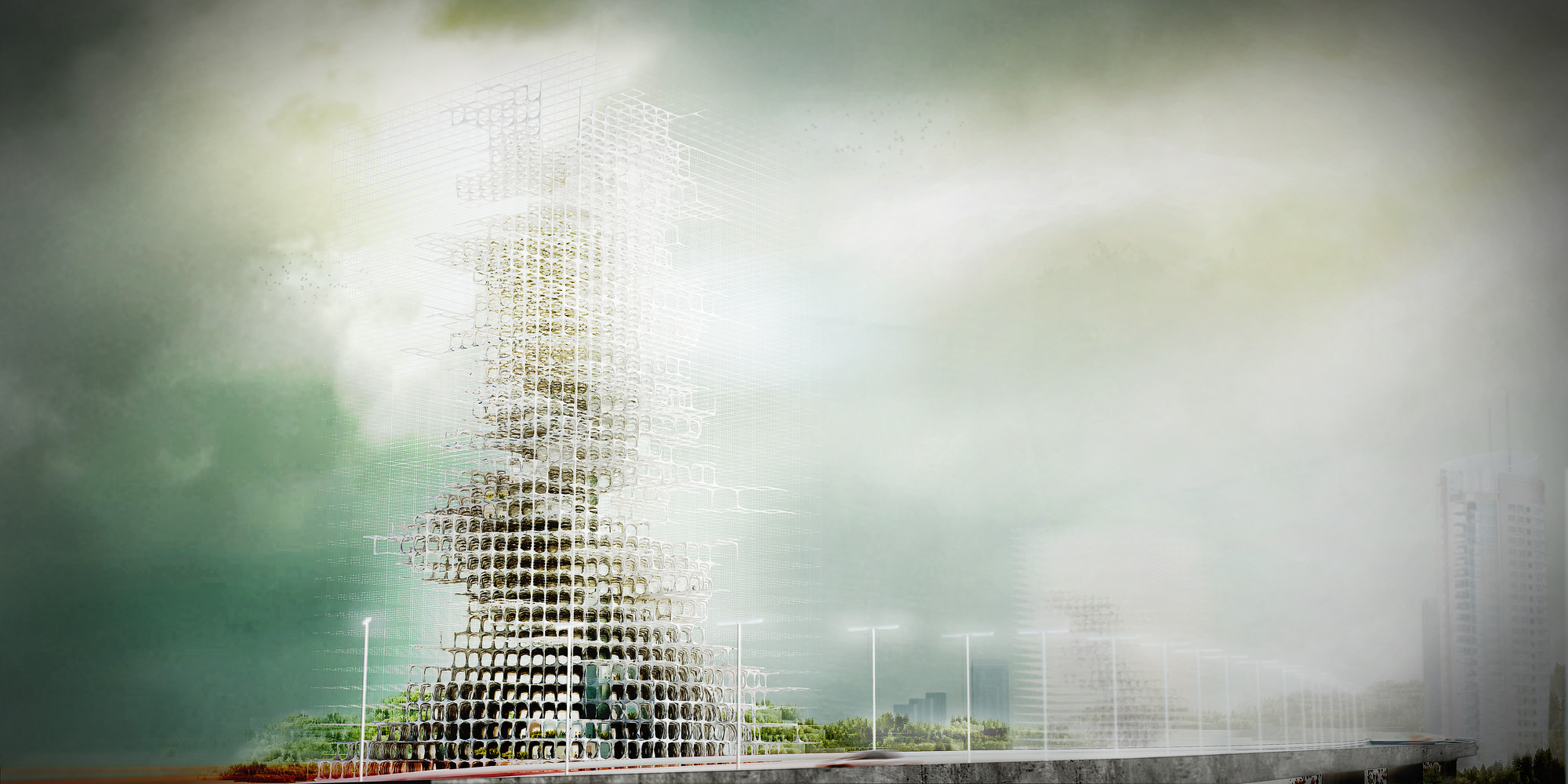 eVolo Skyscraper Competition 2014: A Skyscraper That Grows, Exterior Rendering. Image © YuHao Liu & Rui Wu