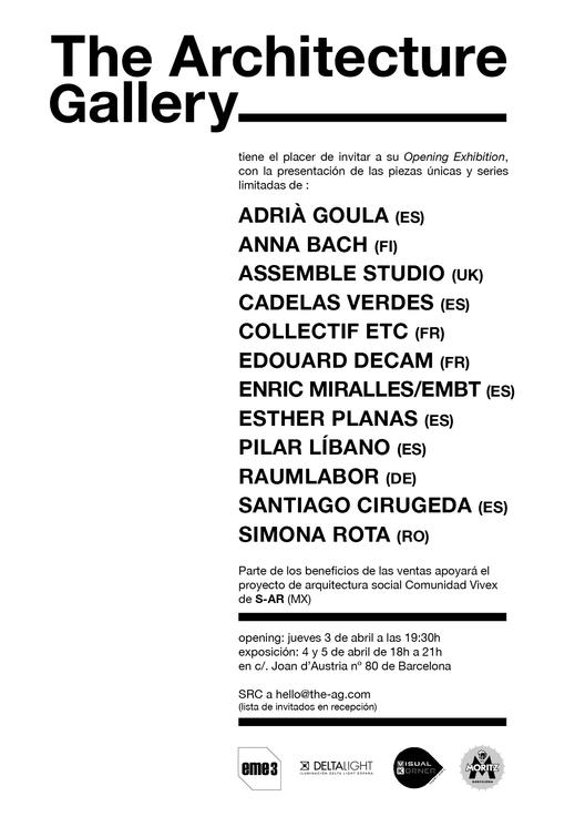 Hoy inaugura The Architecture Gallery, Galería Solidaria en Barcelona, España