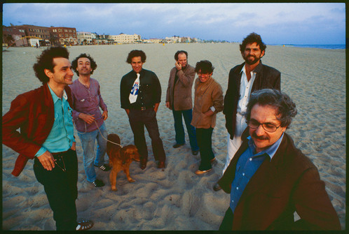 Definitions Series: Risk, at the Storefront for Art and Architecture, L.A. Architects at Venice Beach, 1980. Left to right: Frederick Fisher, Robert Mangurian, Eric Owen Moss, Coy Howard, Craig Hodgetts, Thom Mayne, and Frank Gehry. Photo by Ave Pildas