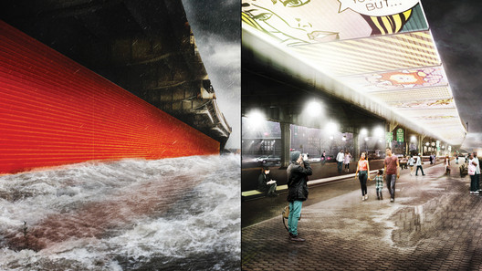 """Render for The BIG U. """"The Flip Downs,"""" deployable walls attached to the underside of the FDR Drive, ready to flip down to prepare for flood events. Image Courtesy of rebuildbydesign.org"""