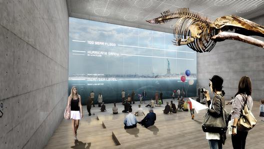"""Render para BIG U, """"El Acuario Inverso"""" parte de un museo o centro de educación ambiental marítima, cuya forma se deriva de la protección contra las inundaciones en la planta baja de cara al agua. Imagen Cortesía de rebuildbydesign.org"""
