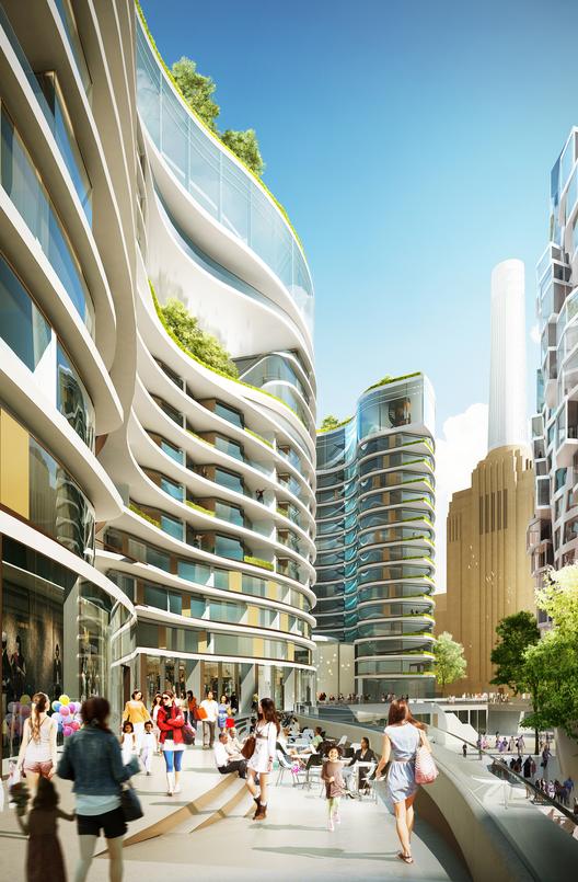 """Foster y Gehry Revelan Diseño para renovación de Central Termoélectrica Battersea, """"Línea de Horizonte"""" en el """"Boulevard Eléctrico"""" / Foster + Partners. Imágen cortesía de Central energética Battersea"""